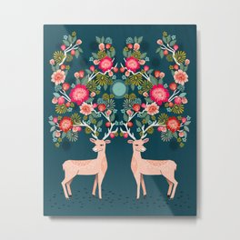 Deer with Flowers by Andrea Lauren  Metal Print
