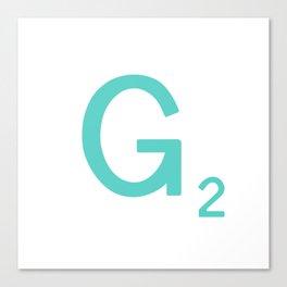 Aqua Letter G Custom Scrabble Canvas Print