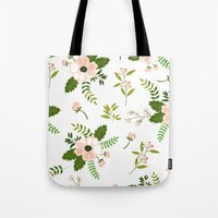 flower pattern Tote Bags featuring Flower Pattern by Jenna Davis Designs