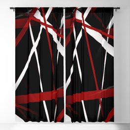 Seamless Red and White Stripes on A Black Background Blackout Curtain