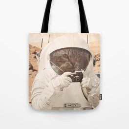 Astronaut Cat on Mars Tote Bag