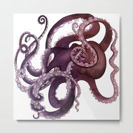The Purple Octopus - Vintage Ocean Monster Metal Print