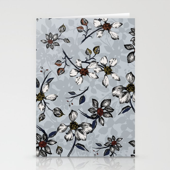 Botanical Pattern on Grey Background Stationery Cards