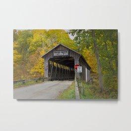 White's Covered Bridge in Fall Metal Print
