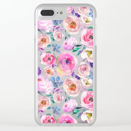 Blush pink gray lilac abstract botanical roses floral Clear iPhone Case