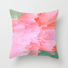 Romance Glitch - Pink & Living coral Throw Pillow