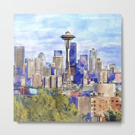 Seattle View in watercolor Metal Print