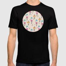 Cute hot summer ice cream cone - doodle illustration pattern print Black MEDIUM Mens Fitted Tee