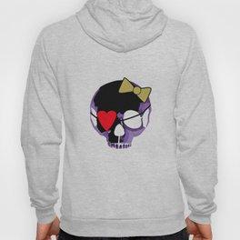Purple skull heart with bow Hoody