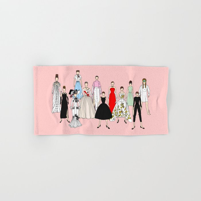 Audrey Hepburn Think Pink Outfits Fashion Hand & Bath Towel