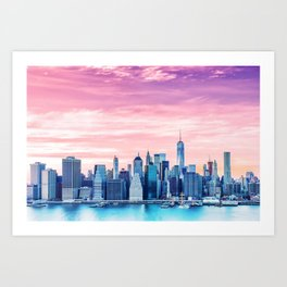 Lower Manhattan at Sunset Art Print