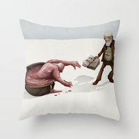 evolution Throw Pillows featuring Evolution by Lee Grace Design and Illustration