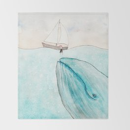 Whale watching Throw Blanket