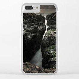 Cape Perpetua's Devil's Churn at Sunset Clear iPhone Case