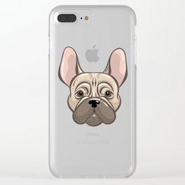 Cute french bulldog muzzle Clear iPhone Case