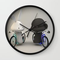 bikes Wall Clocks featuring bikes by coffee & fried chicken