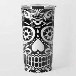 Skull 04 black and white Travel Mug