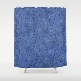 Inventory in Blue Shower Curtain