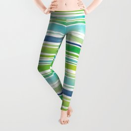 Watercolor Brush Stripes in Green and Blue Leggings