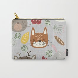 Woodland animals kids pattern grey background Carry-All Pouch