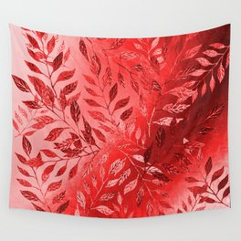 Monochrome  Leaf Arrangement (Red) Wall Tapestry