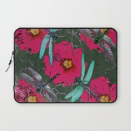 SHABBY CHIC BLUE DRAGONFLIES ON  FUCHSIA HOLLYHOCK FLOWERS Laptop Sleeve