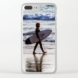 Surfer on the beach Clear iPhone Case