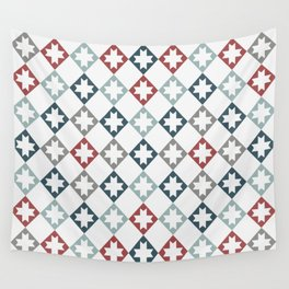 Modern Farmhouse Quilt Pattern Vintage Inspired NorthStar and Diamond Harlequin Print Wall Tapestry