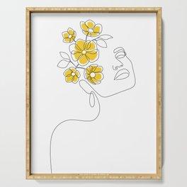 Mustard Bloom Girl Serving Tray