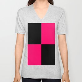 Big mosaic pink black Unisex V-Neck