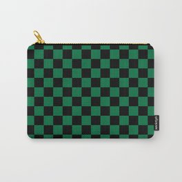 Black and Cadmium Green Checkerboard Carry-All Pouch