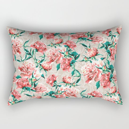 Peonies with lace effect Rectangular Pillow