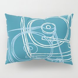 Blue Record Player Pillow Sham