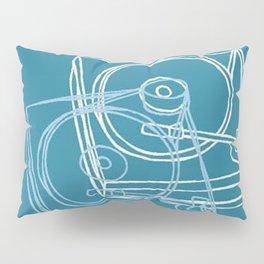 Blue Record Player Pillow Sham