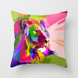 Colorful Lion Head (Illustration) Throw Pillow