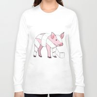 piglet Long Sleeve T-shirts featuring Piglet by Doctor Hue
