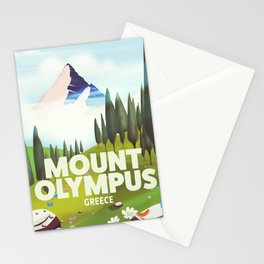 Mount Olympus, Greece, Travel poster Stationery Cards