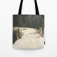wooden Tote Bags featuring Wooden Bridge by Chris' Landscape Images & Designs