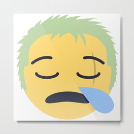 Roronoa Zoro Emoji Design Metal Print