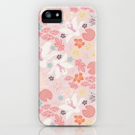 Pink Japanese pond florals iPhone Case