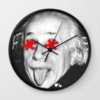 einstein Wall Clocks featuring Einstein  by Hijack:D