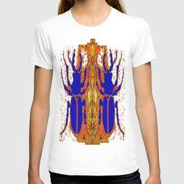 Lapis Blue Beetle on Gold T-shirt