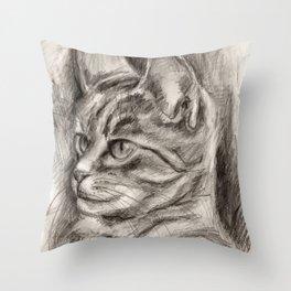 Cat Drawing Throw Pillow