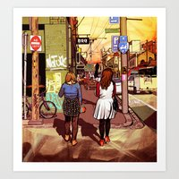 melbourne Art Prints featuring Melbourne by Laura Elliott