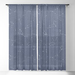 Zodiac Constellations with a Dark Blue Starry Sky Sheer Curtain