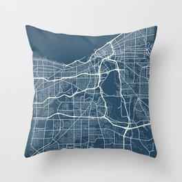 Cleveland Blueprint Street Map, Cleveland Colour Map Prints Throw Pillow
