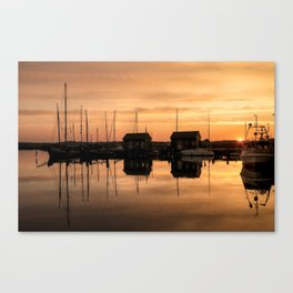 Sunrise at the sea - Harbour Ocean Water Ship Boat Canvas Print