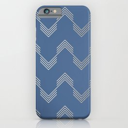 Simply Deconstructed Chevron White Gold Sands  on Aegean Blue iPhone Case