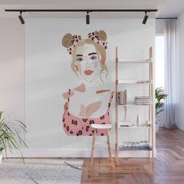 Millennial Pink Cheetah Gal Wall Mural