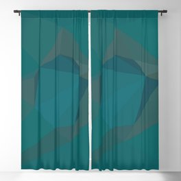 Teal Blue Geometric - Abstract Art by Fluid Nature Blackout Curtain